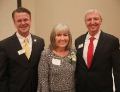 Sheila Lehman recognized by School Board Pres. Chris Riley & Supt. Dr. Jerry Thacker